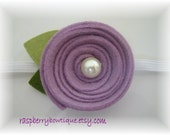 Baby Flower Headband Wool Felt Flower Liz-Lilac- U PICK Headband, or Hair Clip, or Brooch