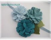 Baby Headband Felt Flower Headband Wool Felt Flower Abigail-Ice Blue, Swan, Teal -U PICK Headband, or Hair Clip, or Brooch