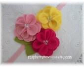 Kerry Baby Headbands Felt flower headband Wool Felt Flower - Cotton Candy, Fuchsia, Lemonade -U Pick Hair Clip or,headband, or Brooch