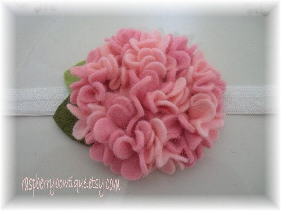 Felt Flower Headband Wool Felt Flower- Katherine-Handmade-Cottoncandy and Soft Pink-U PICK Headband, or Hair Clip, or Brooch
