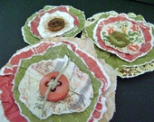 set of 3 paper lollipop style flowers with button centers