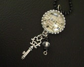 vintage hymnal page music notes with silver skeleton key charm pendant necklace