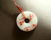 SALE** metal washer reversible upcycled pendant necklace  with red music notes and red damask