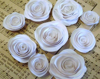 set of 9 white spiral roses paper flowers