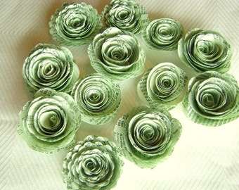 "1 1/4"" spiral paper flowers made from light mint green vintage atlas index book pages or mint parchment paper wedding decorations"