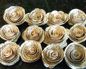 "1"" tiny spiral paper flower roses flat back no stems made from vintage book pages"