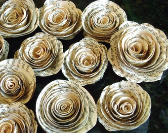 """One dozen 2""""-2.25"""" vintage book page, sheet  music, maps recycled paper flowers spiral roses no stems for scrapbooks, cards,decorations"""