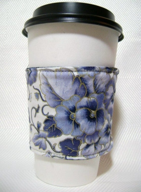 pansy print reversible reusable coffee cozy sleeve summer print-great for iced drinks too