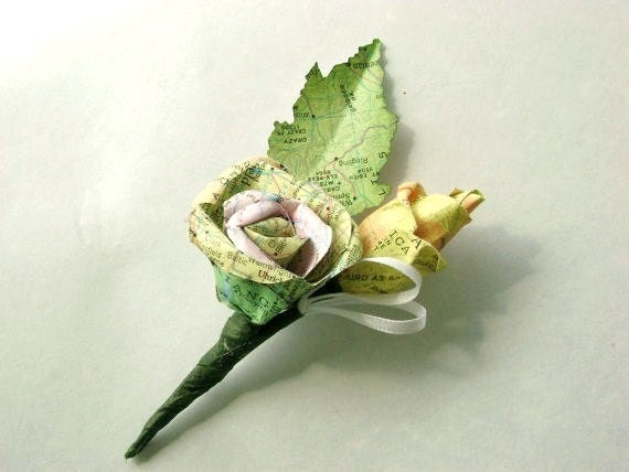 Vintage map atlas paper rose and bud boutonniere buttonhole corsage for weddings and proms
