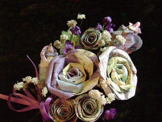 vintage atlas map wrist corsage with miniature roses, spiral roses and purple touches for weddings proms graduation  retirement formals