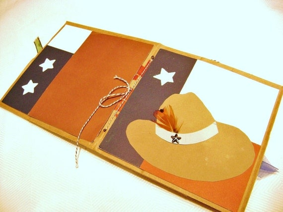western cowboy hat with feather atar country TX mini scrapbook paper bag album premade pages