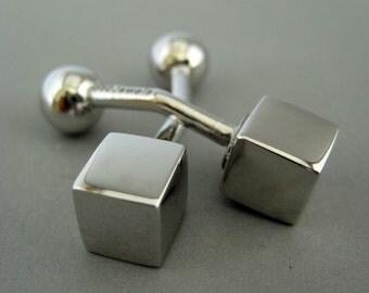 Men's cufflinks, silver cube cufflinks for men, geometric cufflinks, sterling silver cufflinks, box cuff link, gifts for him, 700A