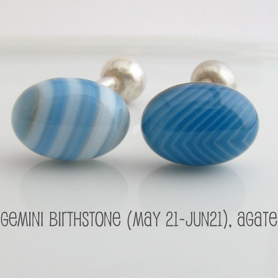 Men's cufflinks, blue agate oval cufflinks for men, gemstone cufflinks, Gemini birthstone cufflinks, something blue cufflink,   737C