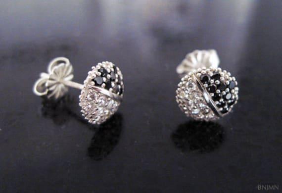 Black and white stone stud earrings - diamond stud earrings - elegant modern studs - Christmas gift - best friend gift - brides made gift,