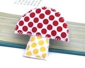Fabric brooch. Mushroom pin. Felt pin. Red Yellow polkadots.Quirky. Whimsical.
