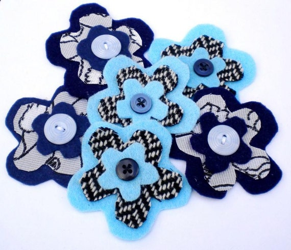 Blue flower embellishment. Felt fabric and button embellishment. Set of 6