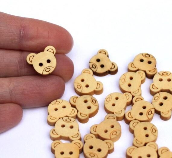 Teddy bear buttons. Wood. 20 pcs.13mm 0.51 inch. Natural color. Australian seller