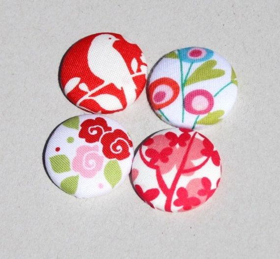 Fabric Button Magnets. Set of 4. Flowers. Bird silhouette. Red pink shades. Fridge magnets. Decorative magnets. Australian Handmade