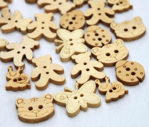 Wooden Buttons. 20 pcs. Animal mix. Cat Ladybird Butterfly Teddy bear Snail. 13mm - 22 mm.