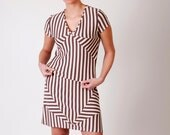 Eco friendly pastel stripe dress geometric medium -ready to ship-