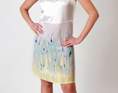 SALE Spring dress hand painted V neck medium small -ready to ship-