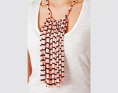Striped jersey fringe pink & black necklace scarf