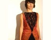 Sequin metallic dress silk copper black fringe gift