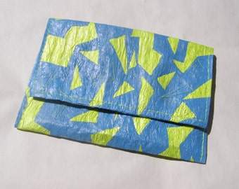 FREE SHIPPING Upcycled Blue Clutch yellow triangles -OOAK- Ready to ship-