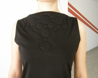 Little Black Dress quilted geometric structure size small -Ready to ship-