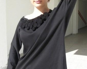 SALE Black shirt blouse applique decoration size medium small -Ready to ship-