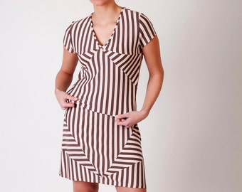 SALE Upcycled pastel stripe dress geometric medium -ready to ship-