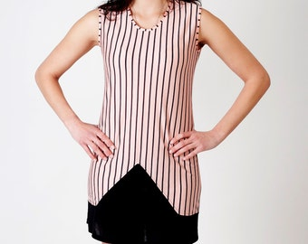 Summer upcycled stripe dress pink black triangle -Ready to ship-