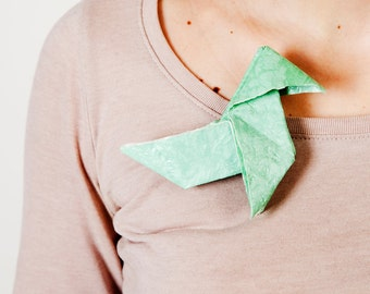 Free Shipping - Eco friendly gift Pajarita Brooch origami mint green. OOAK