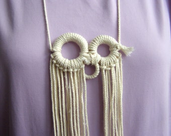 Recycled Rope Necklace fringe rings FREE SHIPPING