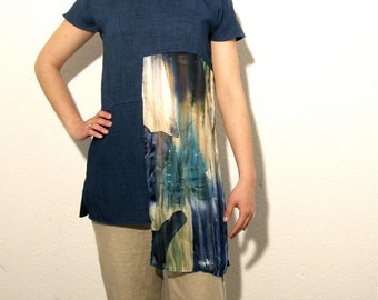 SALE Blue summer tunic eco friendly upcycled clothing color blocking