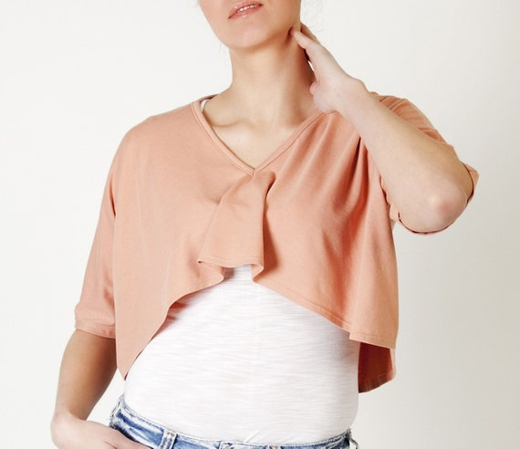 Crop top peach short in front long at the back size medium -ready to ship- Recycled