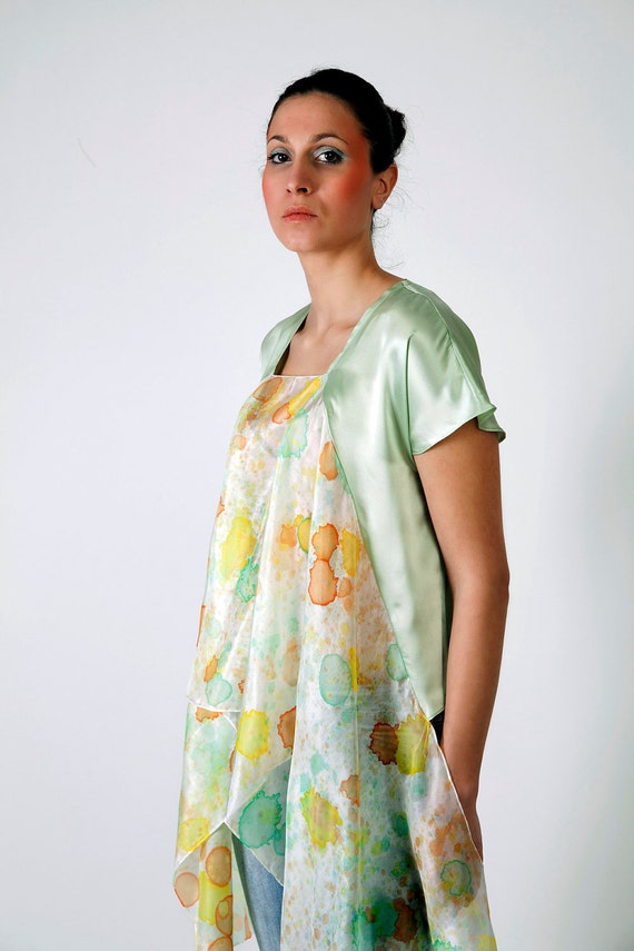 SALE Summer pastel shirt hand painted -ready to ship-