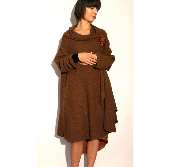 Swing Coat Cardigan wrap cape brown size small medium Ready to ship