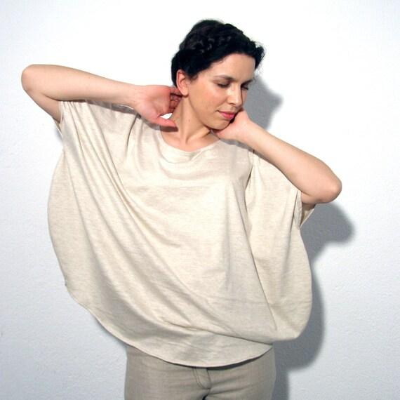 SUMMER SALE Beige jersey shirt melange oversized -ready to ship
