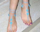 Barefoot Sandals ,white bead ,blue, READY TO SHIP