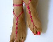 Barefoot Sandals bead ,pink, wedding , Bikini , Women , Beach , Bridal Shoes , Bridal Sandals , Bridal Jewelry ,shoes , READY TO SHIP