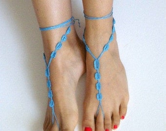 Barefoot Sandals,blue , wedding , Bikini , Women , Beach , Bridal Shoes , Bridal Sandals , Bridal Jewelry ,shoes , READY TO SHIP