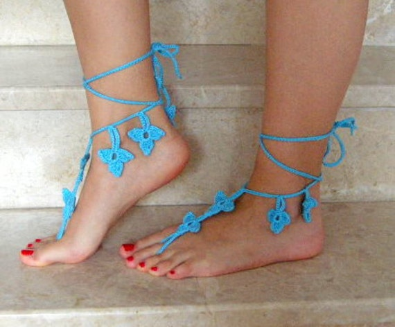 Barefoot Sandals Turquoise blue   READY TO SHIP