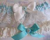 Wedding garter Set Tiffany blue White satin Vintage Lace Rhinestone buttons and silk bows