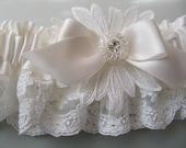 Wedding garter White Lace, Vintage style, White vintage French lace, vintage rhinestone, white Silk Satin, Something Blue bow