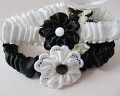 Wedding garter SET, black and white silk, YinYang, Brides to be, Prom, with Ribbonwork flowers and Vintage buttons