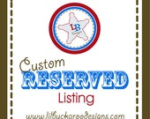 Custom Reserved Listing for Angelique