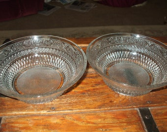 Two Large Pressed Glass Serving Bowls Ornate Raised Design Vintage Christmas Holiday Serving