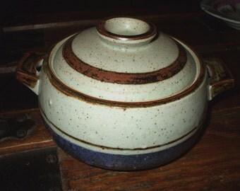Bowl Dish Pottery Stoneware Covered Handled Vintage Handmade