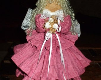 Christmas Angel Doll Handcrafted Paper Country Victorian Shabby Pink Rose Mauve Dress Vintage